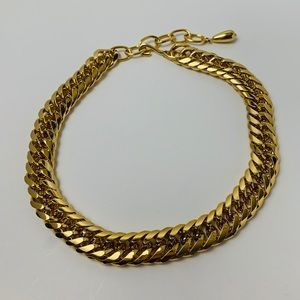 Gold Tone Heavy Chain Link Necklace Choker